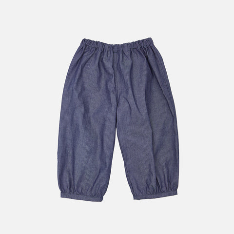 Cotton Bubble Pants - Denim Pinstripe