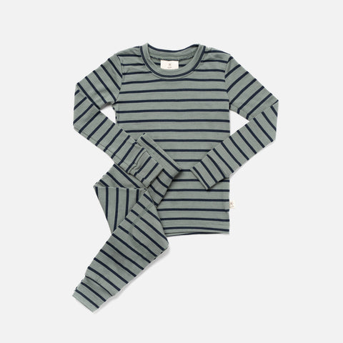Merino Supersoft Top & Bottoms Set - Agave / Navy Stripe