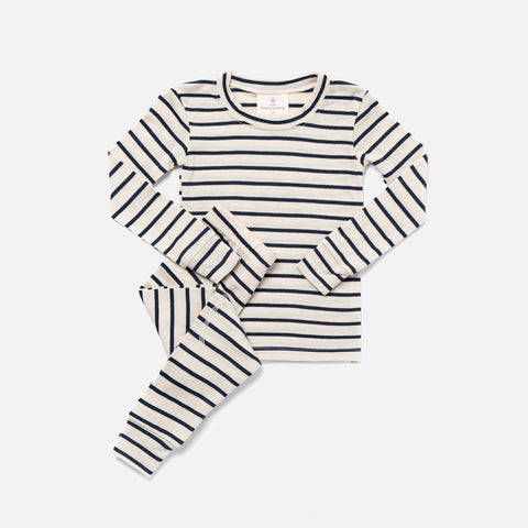 Merino Supersoft Top & Bottoms Set - Natural / Navy Stripe