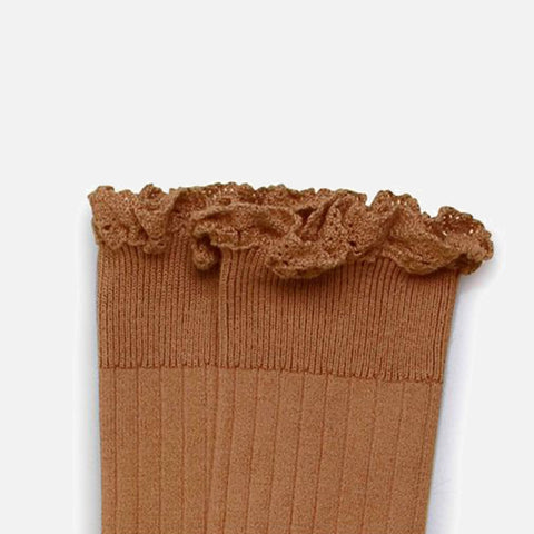 Babies & Kids Cotton Knee Socks With Lace  - Caramel