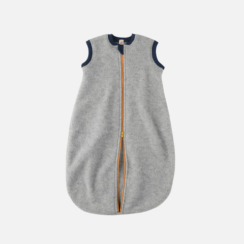 Organic Merino Wool Fleece Sleeveless Sleeping Bag - Light Grey