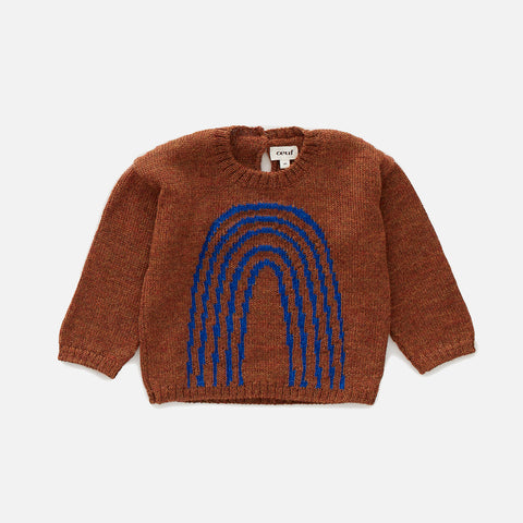 Alpaca Rainbow Sweater - Hazelnut / Electric Blue