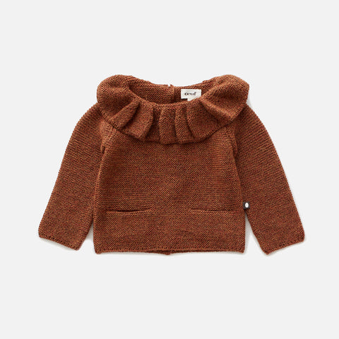 Alpaca Ruffle Neck Sweater - Hazelnut