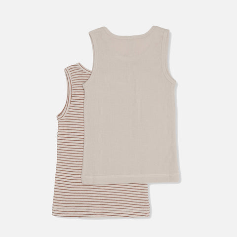 Organic Cotton Saya Two Pack tank - Beige/Toffee