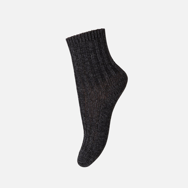 Wool Cotton Ankle Socks - Dark Grey Melange