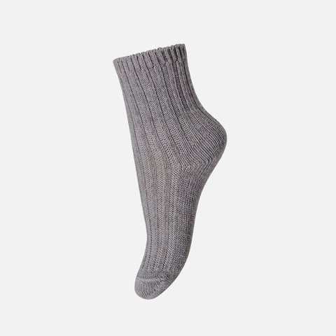 Wool Cotton Ankle Socks - Light Grey Melange