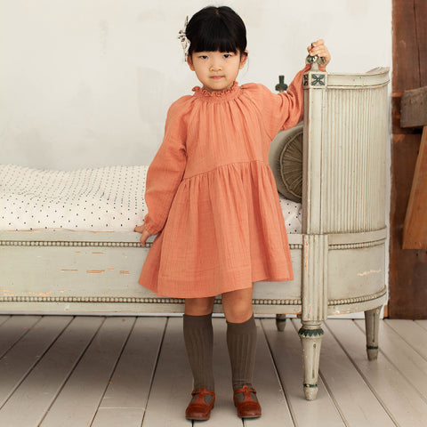 Organic Cotton Gauze Antoinette Dress- Peony