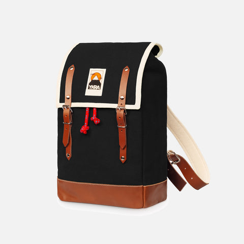 Cotton Canvas Matra Mini Backpack With Leather Strap & Base - Black