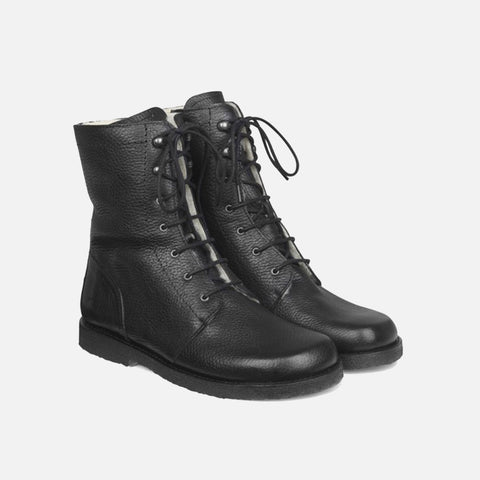 Women's Wool Lined Lace-Up Boots With Zipper - Black