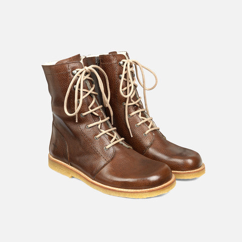 Women's Wool Lined Lace-up Boot with Zipper - Brown