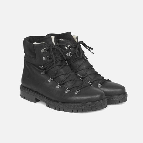Men's Wool Lined Lace Up Boots - Black