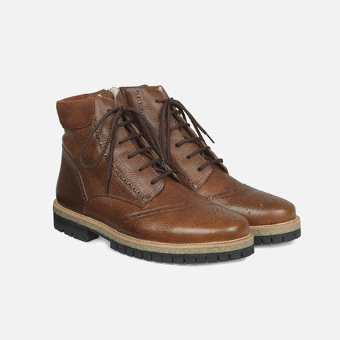 Men's Wool Lined Lace Up Brogue Boots - Cognac