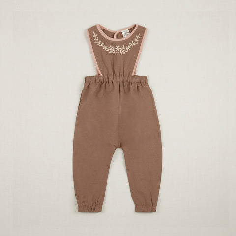 Linen Baby Bobbie Dungaree - Fawn