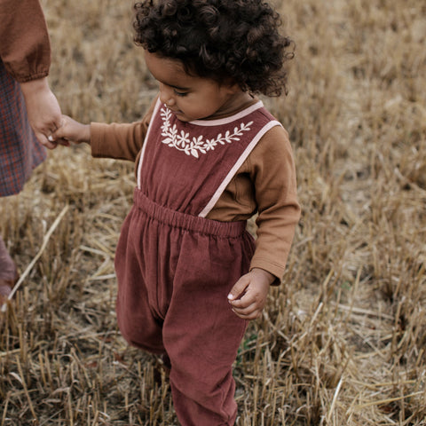 Cotton Baby Bobbie Cord Dungaree - Buckthorn
