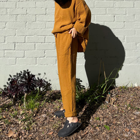 Cotton Gauze August Trousers - Mustard