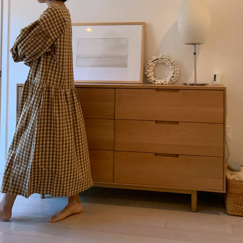 Cotton/Linen May Dress - Camel Gingham