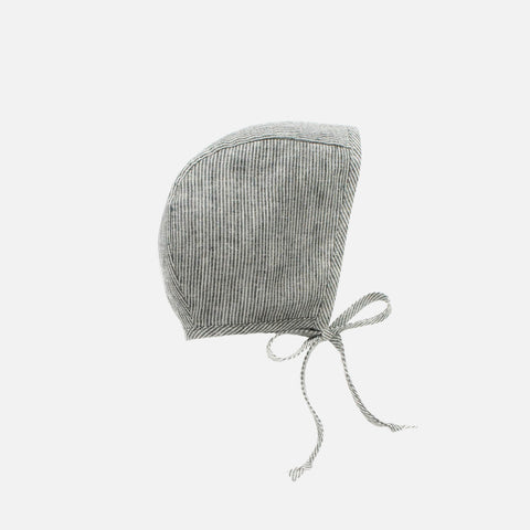 Linen Bonnet With Cotton Sherpa Lining - Natural Stripe