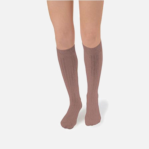 Adult's Cotton Knee Socks - Praline