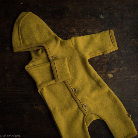 Organic Boiled Merino Wool Overall - Curry