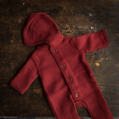 Organic Boiled Merino Wool Overall - Bordeaux