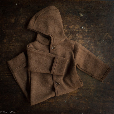 Exclusive Organic Boiled Merino Wool Overall - Hazelnut