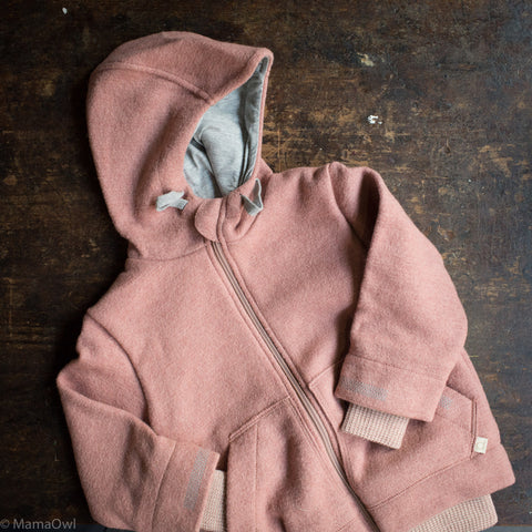 Organic Boiled Wool Kids Zip Jacket - Rose