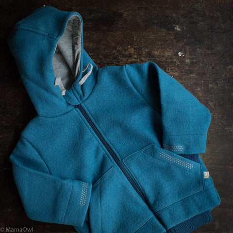 Organic Boiled Wool Kids Zip Jacket - Blue