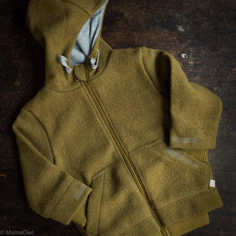 Organic Boiled Wool Kids Zip Jacket - Gold