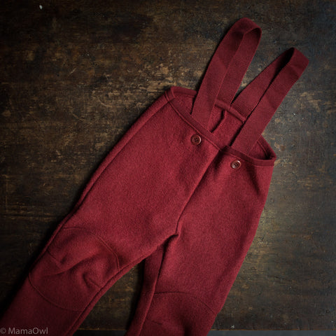 Boiled Wool Dungarees - Bordeaux