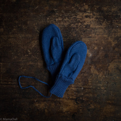 Boiled wool gloves - Navy