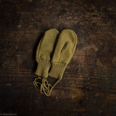 Boiled Merino Wool Gloves - Gold
