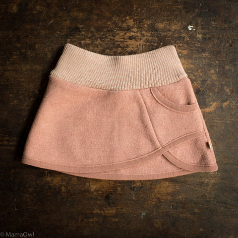 Organic Boiled Wool Skirt- Rose
