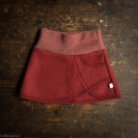 Organic Boiled Wool Skirt - Bordeaux