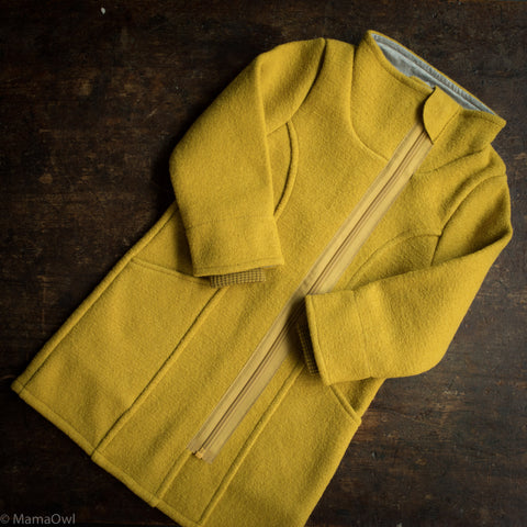 Organic Boiled Wool Long Kids Coat- Curry