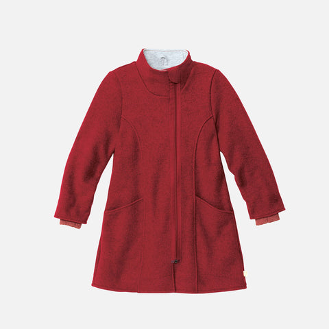 Organic Boiled Wool Long Kids Coat- Bordeaux