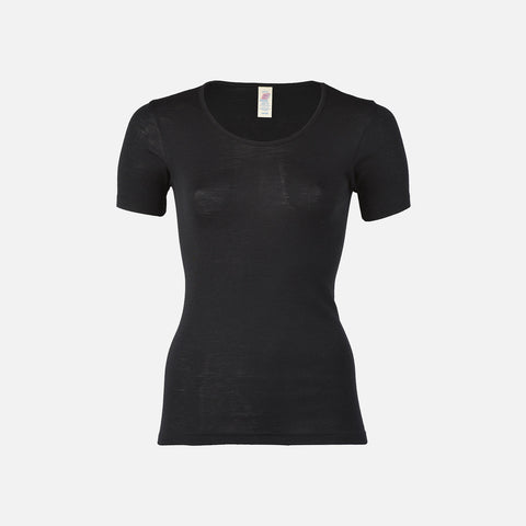 Organic Silk & Merino Wool Women's SS Top - Black