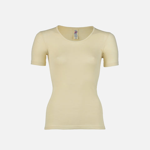 Organic Silk & Merino Wool Women's SS Top - Natural
