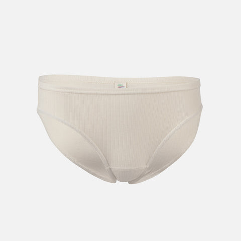 Women's 100% Organic Cotton Rib Bikini Briefs - Natural