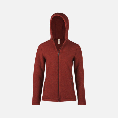Women's 100% Organic Merino Wool Fleece Jacket - Terracotta