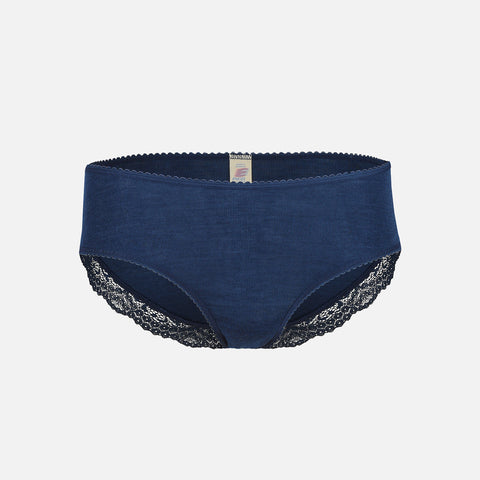 Women's Wool/Silk Briefs With Lace - Navy Blue