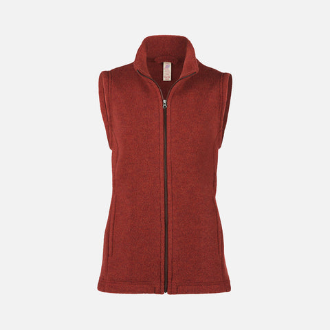 Women's 100% Organic Merino Wool Fleece Vest - Terracotta