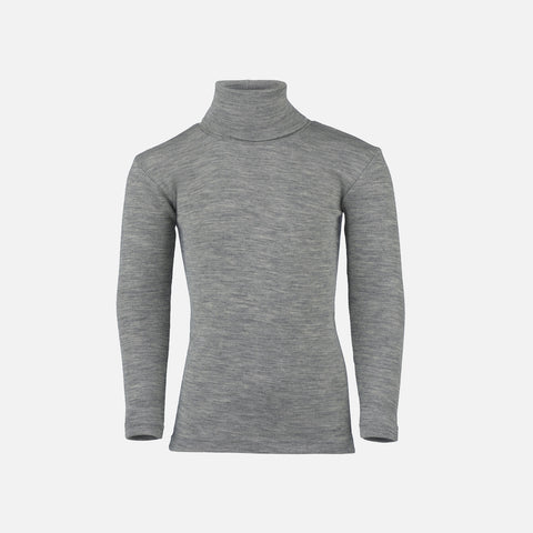 Organic Silk & Merino Wool Polo Neck Top - Light Grey