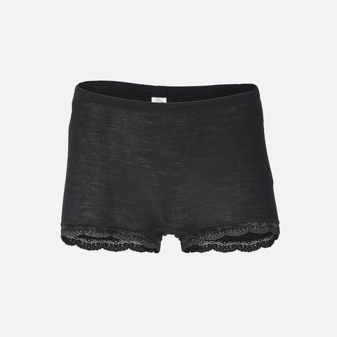 Women's Wool/Silk Boxer Shorts With Lace - Black