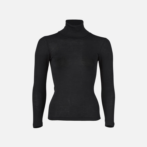 Organic Silk & Merino Wool Women's Poloneck Top - Black