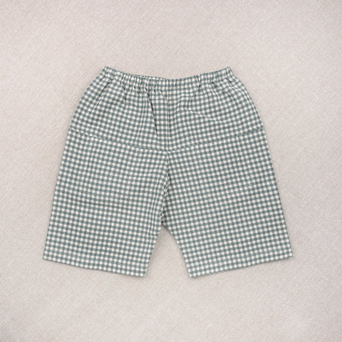 Cotton Eole Shorts - Teal Gingham