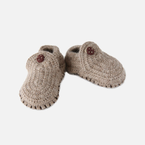 Alpaca Baby Booties Classic - Pebble