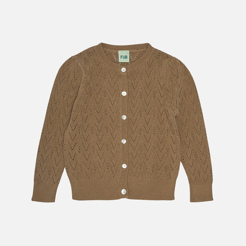 Organic Cotton Pointelle Cardigan - Camel