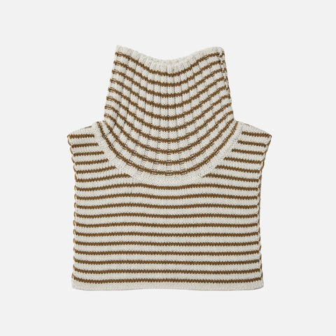 Merino Wool Stripe Neck Warmer - Ecru/Sienna