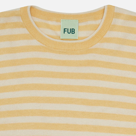 Organic Cotton Striped SS Top - Desert Sun/Ecru