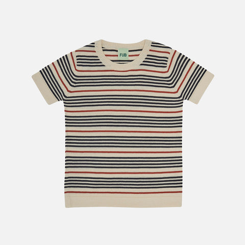 Organic Cotton Striped SS Top - Ecru/Dark Navy